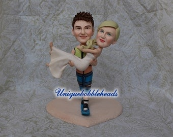 Funny wedding cake topper, grooms carrying bride, Surfing cake topper, custom cake topper, princess hug, bride and groom cake topper,