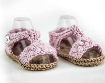 KNITTING PATTERN, Baby Braided Sandal Pattern, Cable Strap Sandal Pattern, Three Sizes, Easy Baby Knitting Pattern, Summer Booties Pattern
