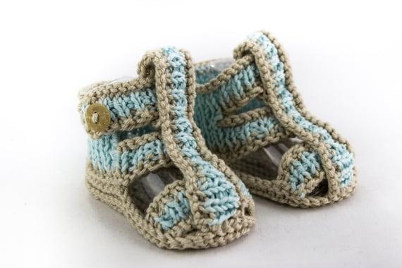 KNITTING PATTERN Baby Boy Sandal Pattern Roman Sandal