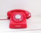 Vintage rotary phone, red rotary phone, red vintage phone, vintage phone, swedish phone, swedish vintage phone, retro phone, kitsch phone