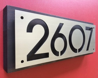 Custom steel and cedar house numbers (Midnight edition)
