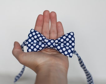 Polka dot blue bow tie - baby bow tie - kids bow tie - toddler bow tie, tie for little boys