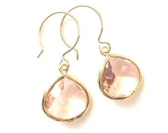 Blush Earrings, Champagne Earrings, Peach Earrings, Rose Gold Blush Earrings, Blush Bridesmaid Earrings, Wire Choice, Rose Gold Bridesmaids