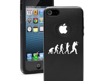 For Apple iPhone 4 4s 5 5s 5c 6 6s Plus Dual Layer Aluminum Silicone Hard Case Cover Evolution Paintball