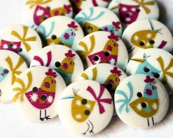 12 Easter Chicken Buttons 20mm - Printed Wood Buttons - Farm Animal Buttons - White Painted Wood - Fun Colorful Button - Mixed Color - PW104