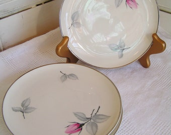 4 Vintage Syracuse China Bridal Rose Bread and Butter or Dessert Plates Made in America Pink Roses