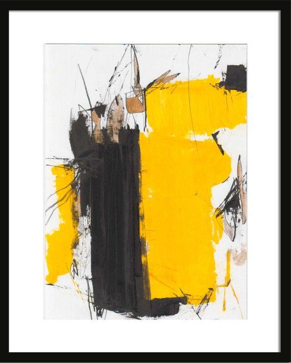 Abstract Oil painting on paper Black Yellow on white paper Yellow Black Abstract Paintings