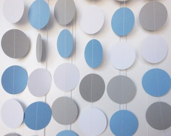 Party Paper Circle Garland, Light Blue Gray & White, Party Decoration, All Occasion Garland, Birthday Garland,  Party Decor 12' Circles