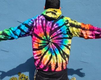 Rainbow Spiral Tie Dye Hoodie Sweatshirt Jacket Outerwear