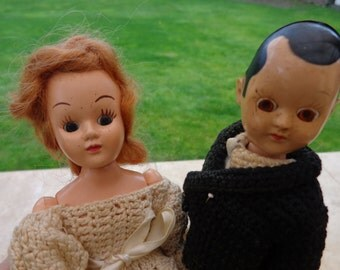 Vintage Wedding Topper Dolls, Bride and Groom, Sleepy Eyes FREE SHIP