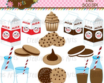 40% Off! Milk & Cookies Clip Art Instant Download