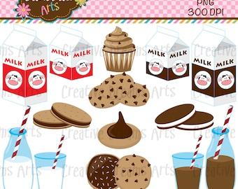 40% Off! Milk & Cookies Clip Art Instant Download
