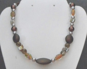 One of a Kind Necklace with Italian Glass and Pearls.