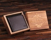 Personalized Monogrammed Engraved Genuine Leather Bifold Mens Wallet with Optional Wood Gift Box Groomsmen, Best Man, Father's Day Gift