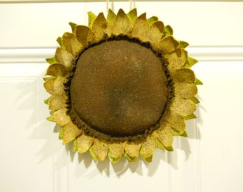 Primitive Upcycled Denim Sunflower Door Greeter Repurposed Denim Jeans Wall Hanging
