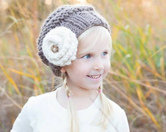 Slouchy Hat, knit slouchy hat, Child Toddler Adult Slouchy Hat, Flower Hat, Hat with Flower