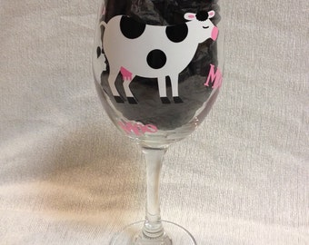 Cow Wine Glass