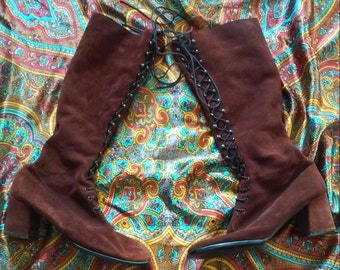 Vintage 60's RETRO Caprice Burgundy Suede MOD GoGo Boots