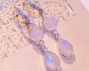 Rainbow Moonstone CZ Bridal Earrings /Rainbow Moonstone Wedding Earrings, CZ Hooks/ Sterling Silver Fancy Moonstone Bridesmaid Earrings