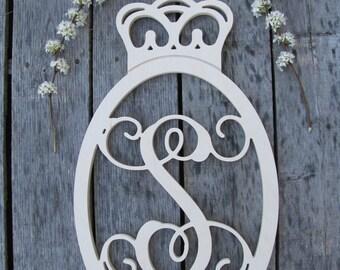 Oval Crown Border Single Vine Script Monogram Letters- Princess Crown - Prince Crown - Nursery Decor - Wall Letters - Wood Letters, Royal