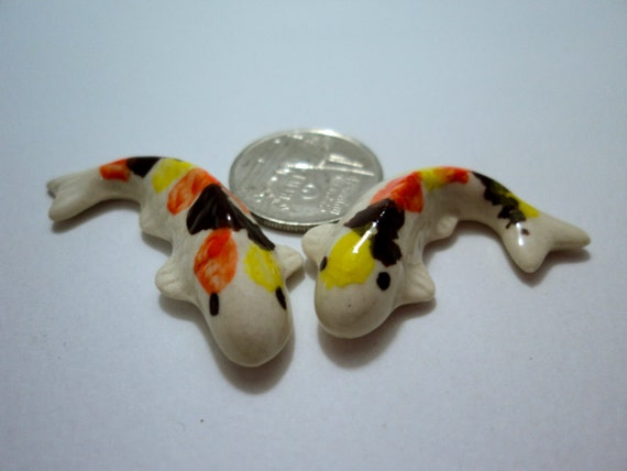 Ceramic tiny 2 crap japaness koi fish figurine by icandoshop for Koi fish figurines