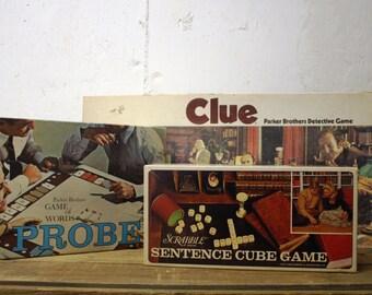 Vintage Game set-Scrabble Cube, Clue, Probe