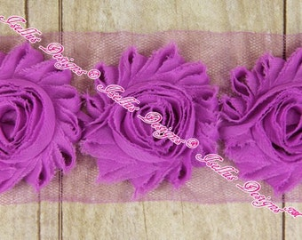 6 Piece Bright Violet 2.5 Inch Shabby Flowers