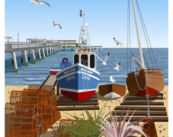 DEAL. Travel/Railway style poster of Deal Seafront, Pier & Fishing Boats, Kent. A4, A3, A2