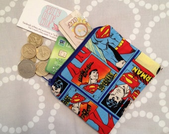 Superhero Coin Purse using Superman Fabric. Fully Lined!
