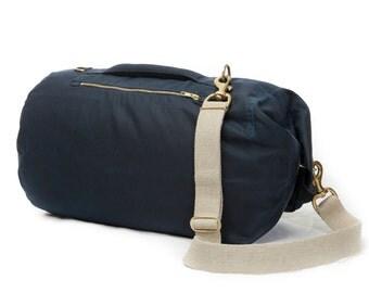 Waxed Canvas Duffle Bag - Medium Blue