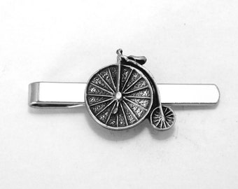 Penny Farthing Bicycle Tie Clip (slide), Handmade, Gift Boxed (h)