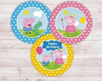 Peppa Pig cupake toppers / Birthday Party Peppa Pig / circles Peppa Pig / Stickers Peppa Pig / Printables Peppa Pig