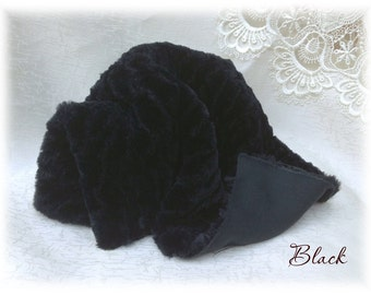 Exclusive ITALIAN VISCOSE Fabric Fur Black Colour Wavelike Curly 9 mm pile 1/8 metre teddy bear making supplies plush