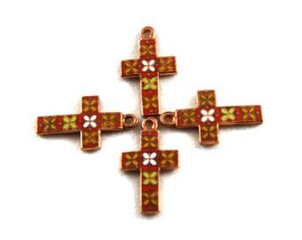 2x Vintage Red, Yellow & White Enamel Copper Crosses - M092-A
