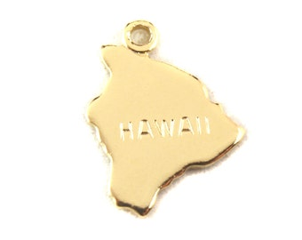 2x Gold Plated Engraved Hawaii State Charms - M114-HI