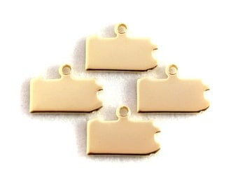 2x Gold Plated Blank Pennsylvania State Charms - M115-PA