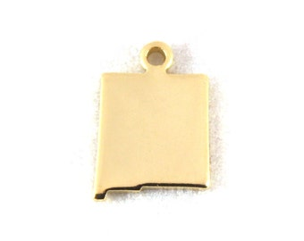 2x Gold Plated Blank New Mexico State Charms - M115-NM