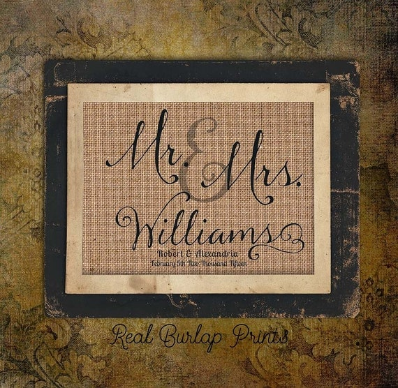 Wedding Day | Bride and Groom | Mr & Mrs | Date | 8x10 |  Burlap Print | Personalized | #0078