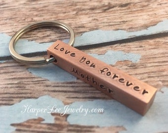 Personalized 4 Sided Solid Bar Necklace- Copper Key Chain -Custom Accessories -Personalized Jewelry -Hand Stamped-Coordinates-Names- Dates