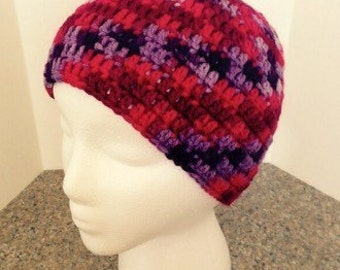 Ugly sweater hat, beanie hat, crocheted, hand made, head warmer!