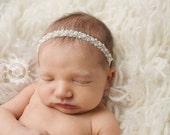 Beaded Headband, Baby Headband, Baby Tie Back, Petite Headband, Baby Girl Headband, Newborn Headband, Christening Headband, Baptism