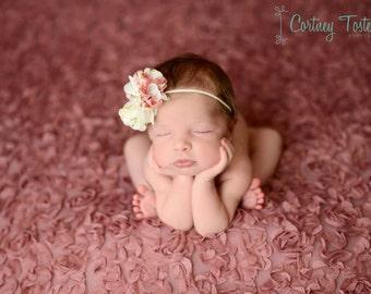 Beautiful Ava Vintage Rose Floral Headband Rhinestone Center on Baby Headband or Clip Newborn Baby Toddler Adult Photo Prop
