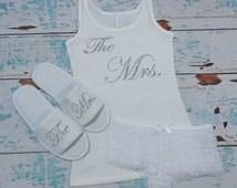 Bride Lingerie Set. Bride Panties. Bridal Slippers. Bride Tank Top Shirt. Bridal Shower Gift. Bachelorette Gift.