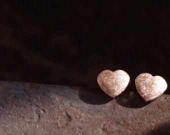Fine silver heart earring post, everyday stud earring.