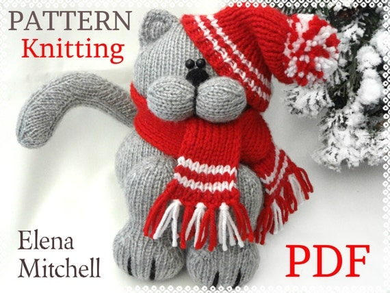 Knitted Amigurumi Cat Pattern : Knitting PATTERN Animal Knit Pattern Cat Animal Patterns ...