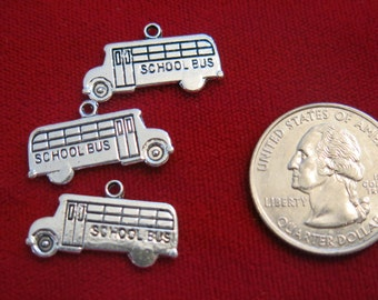 "10pc ""school bus"" charms in antique style silver (BC351)"