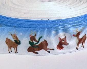 """5 yards of 7/8 inch """"Reindeer"""" grosgrain ribbon"""