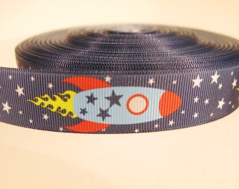 "5 yards of 7/8 inch ""space ship"" grosgrain ribbon"