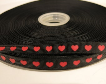 "5 yards of 1/3 inch ""Heart"" grosgrain ribbon"