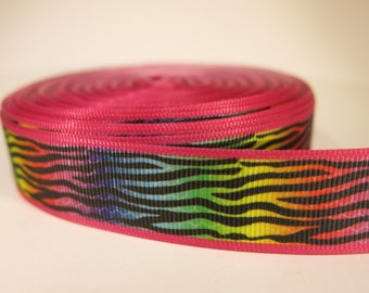 "5 yards of 7/8 inch ""tiger print"" inspired grosgrain ribbon"